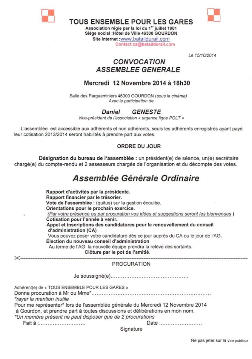 Convocation assemblée générale du 12 novembre 2014