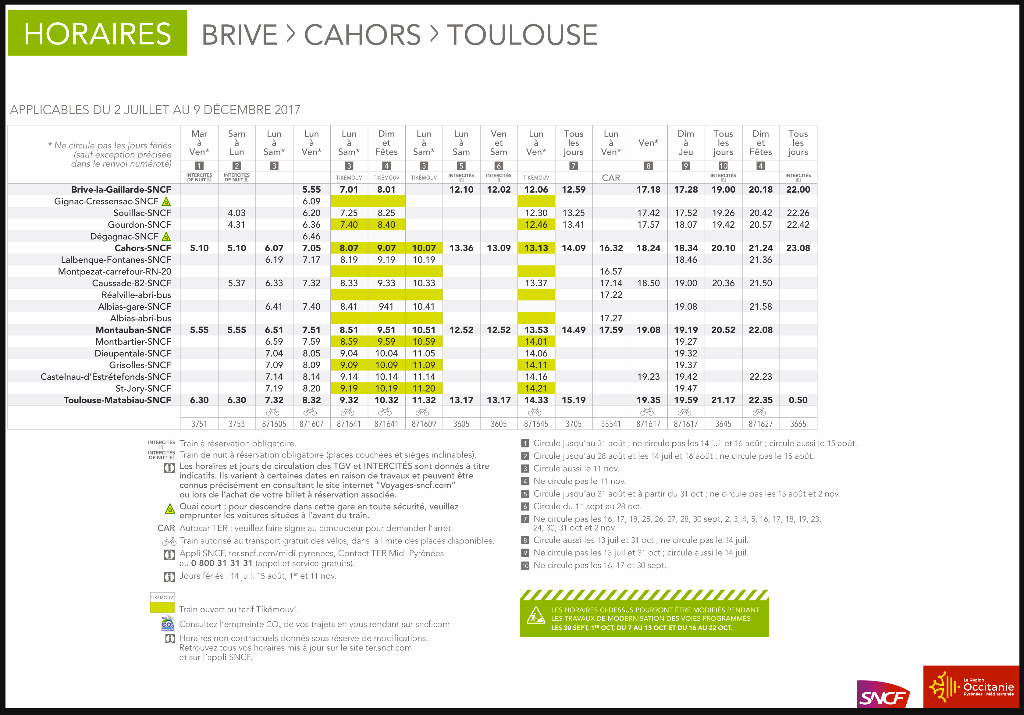 1 HORAIRES BRIVE-TOULOUSE